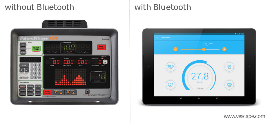 Exercise bike console with Bluetooth